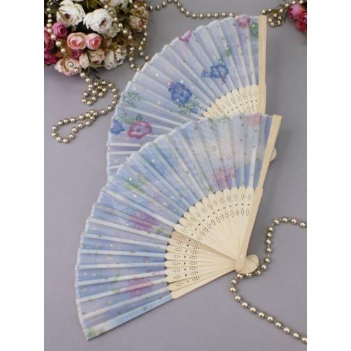 Веер №94 Лёгкость /бамбук, ткань/голубой/УЦЕНКА/-6816964