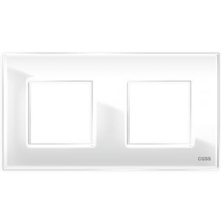 """Двухпостовая рамка стеклянная белая """"эстетика"""" gl-p102-wc"""