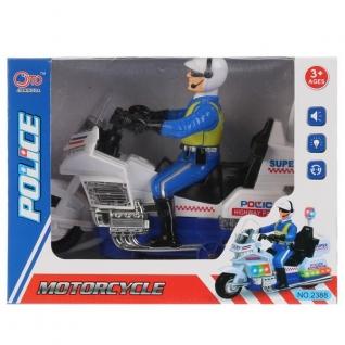 Мотоцикл полиция с фигуркой, на бат. свет+звук в кор. в кор.2*30шт-37793008