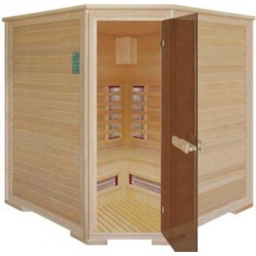 Инфракрасная сауна 4 - местная, угловая со стеклянной дверью и деревянным фасадом-6012520