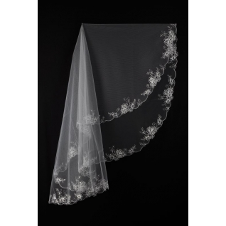 Фата №14-1, вышивка со стразами, 2 яруса 60/80 см, белая