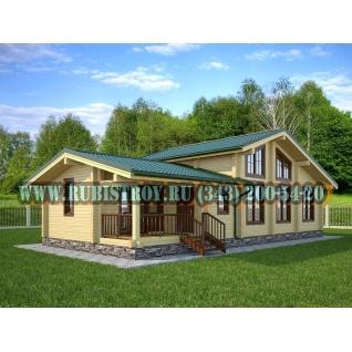 "Проект ""ЗЛАТОУСТ"" из профилированного бруса 145 х 190 мм, размер 15 х 10, площадь дома 129 кв.м"