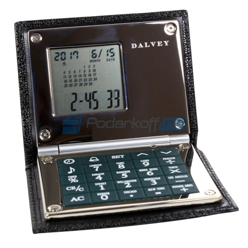 Калькулятор/часы/будильник, кожа черная-762885