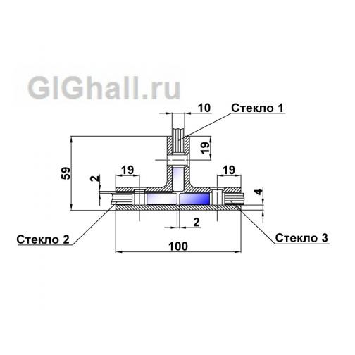 Коннектор стекло - стекло - стекло. T-727 PC 5901282 2