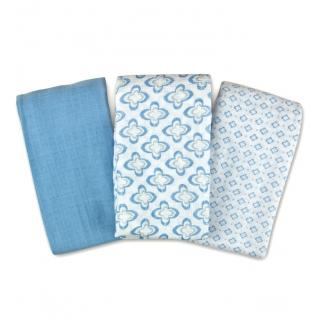 Пеленки Summer Infant Набор пеленок 3 шт. Distress Geo (голубая/белые с орнаментом)