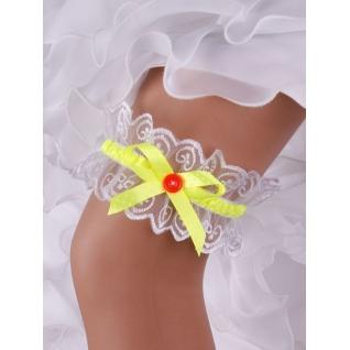 """Подвязка невесты """"Стиляга"""" кружево №56 (7,5 см), белый/салатовый-5895937"""