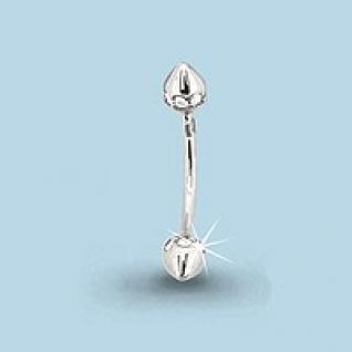 Пирсинг из серебра с фианитом АКВАМАРИН 70509А